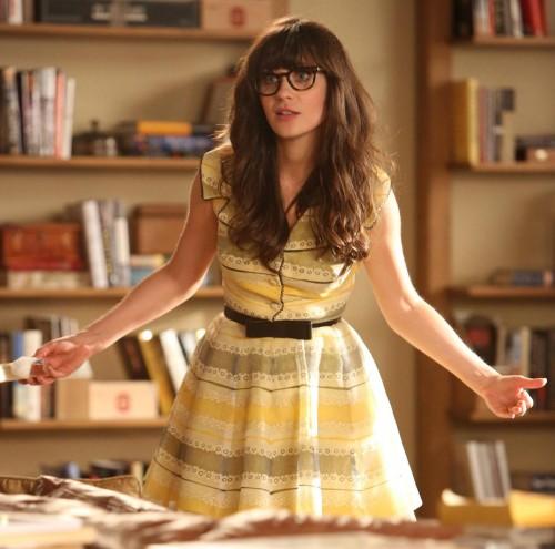 new-girl-yellow-striped-shirtdress-black-bow-belt-500x495